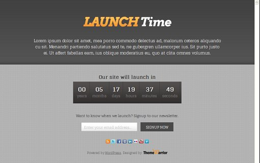 ThemeWarrior LaunchTime WordPress Coming-Soon Page Theme