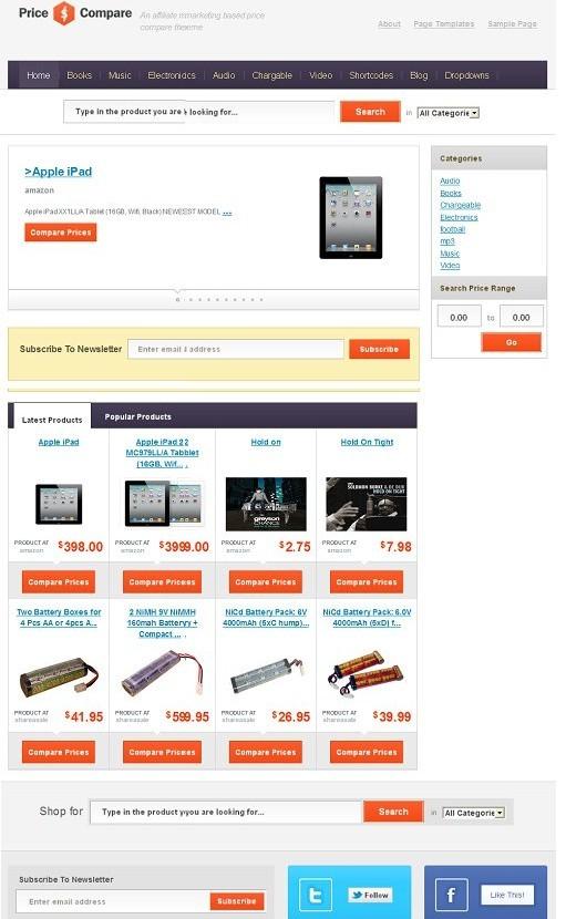 Templatic Price Compare WordPress App Theme For Price Comparison Site