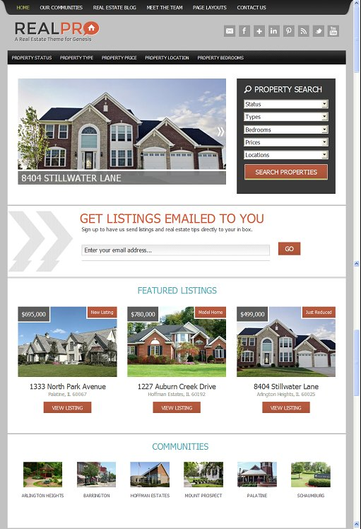 StudioPress RealPro Smart Real-estate Child Theme For Genesis