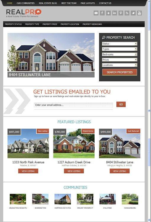 StudioPress RealPro Smart Real-estate Child Theme For Genesis