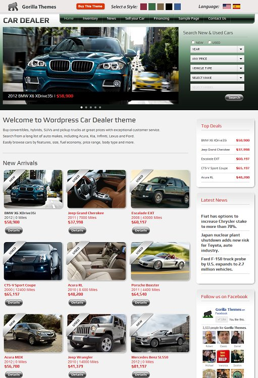 Car Dealer GorillaThemes Car Dealership WordPress Theme