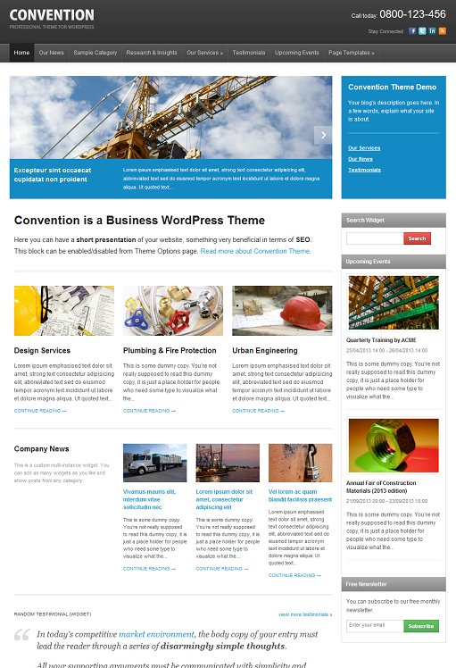 WPZOOM Convention New Responsive Business WordPress Theme