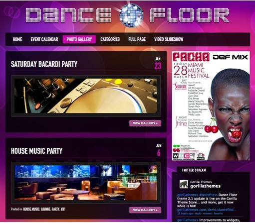 Gorilla Themes Dance Floor DJ WordPress Theme Updated