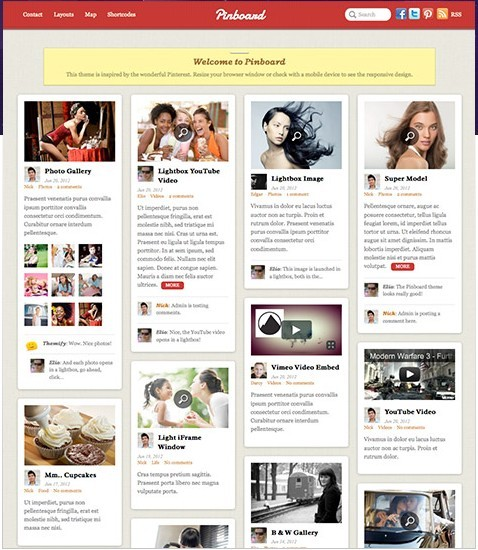 Themify Pinboard Responsive WordPress Pinterest-Like Theme