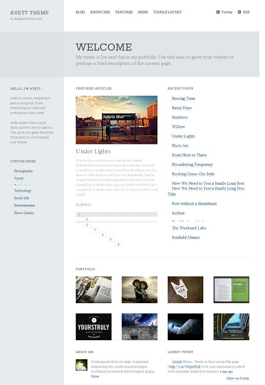 Avett Simple Portfolio WordPress Theme By Designer Themes