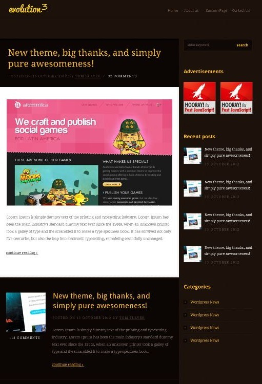 FlareThemes Evolution3 Personal Blogs WordPress Theme