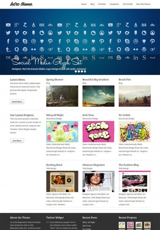 Mint Themes Intro, An Ultra Responsive Portfolio WordPress Theme