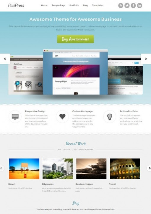 WooThemes PixelPress Responsive WordPress Business Portfolio Theme