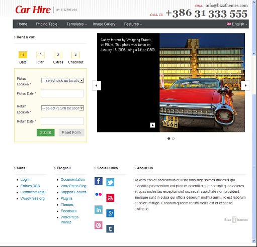 BizzThemes Car Hire WordPress Theme For Car Rental Agencies
