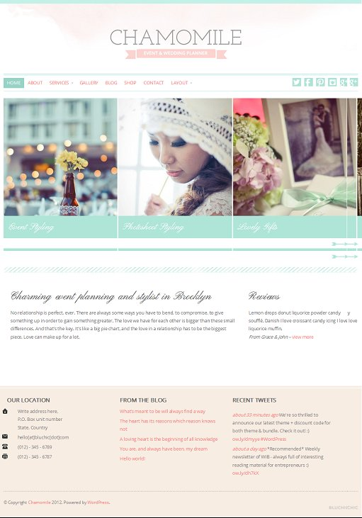 BluChic Chamomile WordPress Theme For Event / Wedding Planner