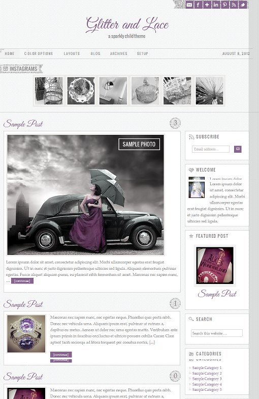 StudioPress Glitter And Lace Child Theme For Genesis Framework