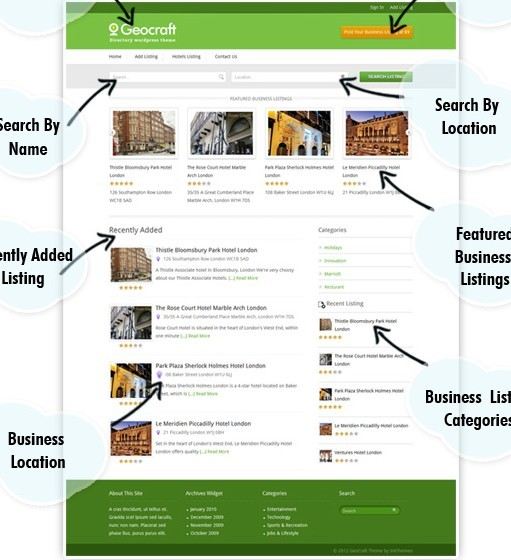 InkThemes GeoCraft Business Directory Listing WordPress theme