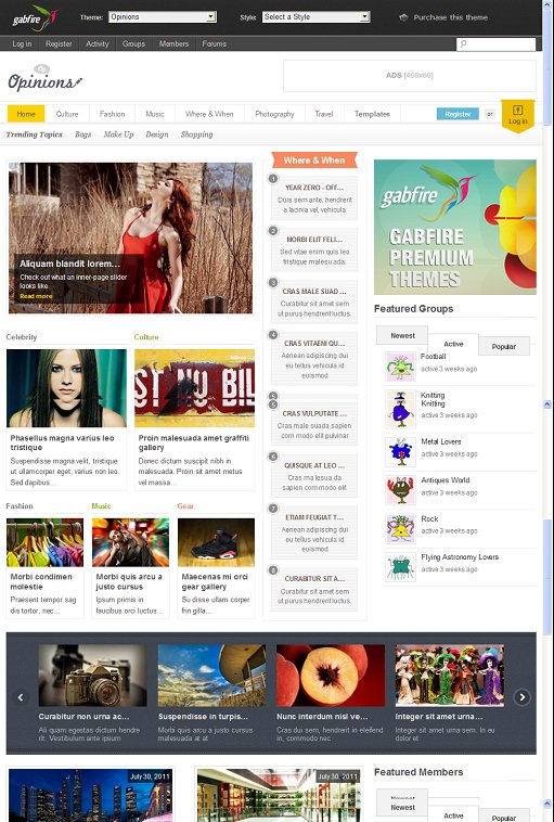 Gabfire Opinions BuddyPress Compatible WordPress Theme