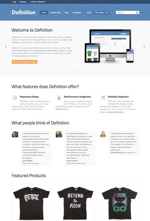 WooThemes Definition WordPress Theme For Business & eCommerce Shop