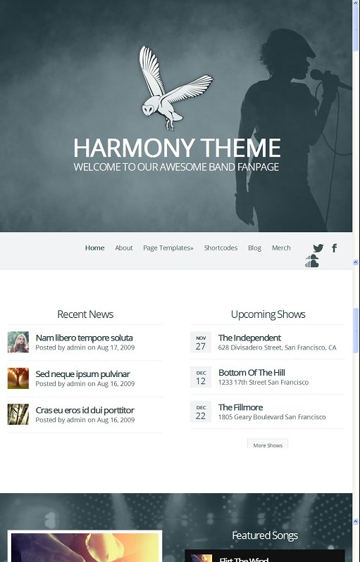 Elegant Themes Harmony Responsive Bands WordPress Theme
