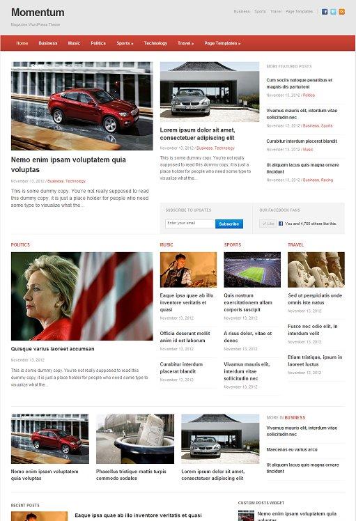 WPZOOM Momentum Responsive Starter Theme For WordPress News website