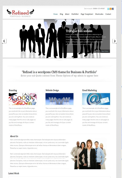 WPWebs Refined WordPress CMS Theme For Business & Portfolio