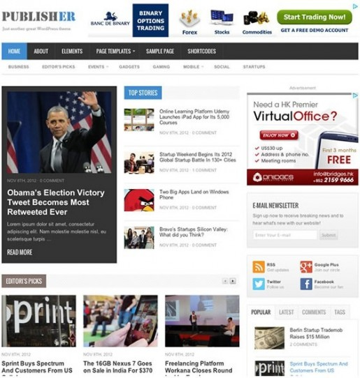 Theme Junkie Publisher WordPress Theme For Magazines Blogs