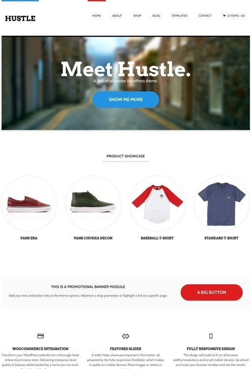 WooThemes Hustle Responsive Business Store WordPress Theme
