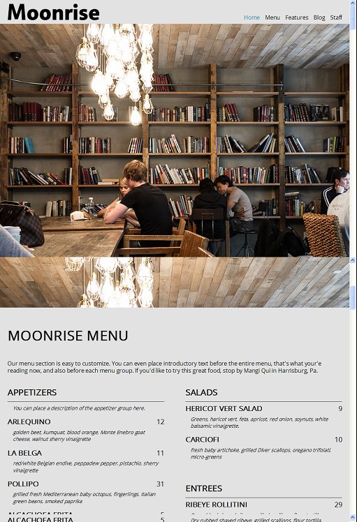 Organized Themes Moonrise WordPress Theme For Food Restaurants