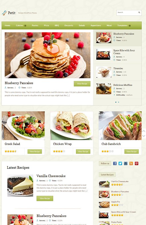 WPZOOM Petit WordPress Theme For Food Recipe Website