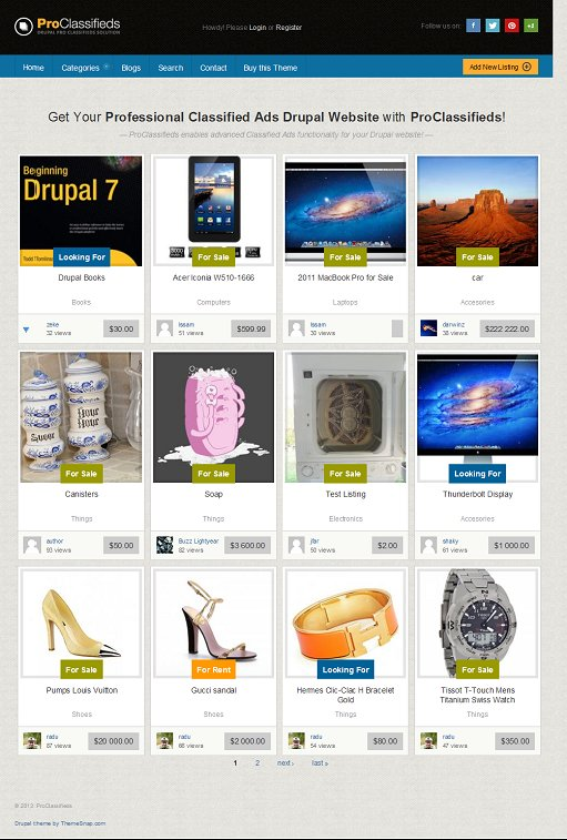 ThemeSnap ProClassifieds Responsive Classified Ads Theme for Drupal