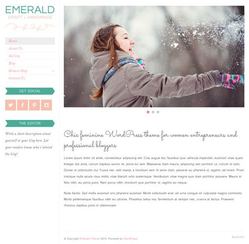 BluChic Emerald WordPress Theme Works With WooCommerce