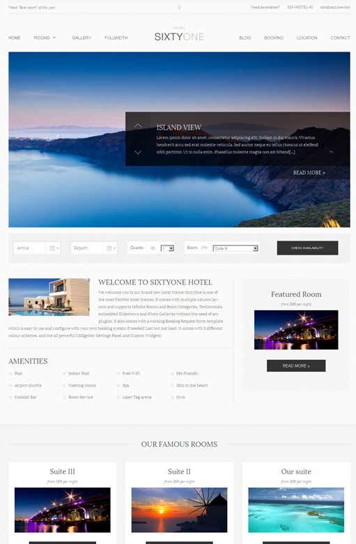 CSSIgniter SixtyOne Responsive Hotels WordPress Theme