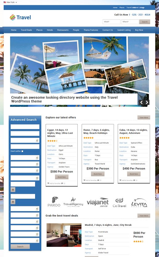 Templatic Travel - A Powerful Travel Deals WordPress theme