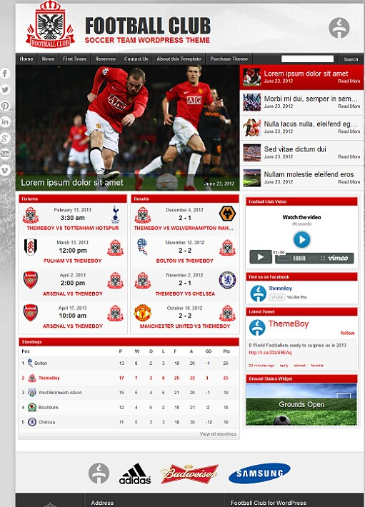 Football team wordpress theme theme : 2018