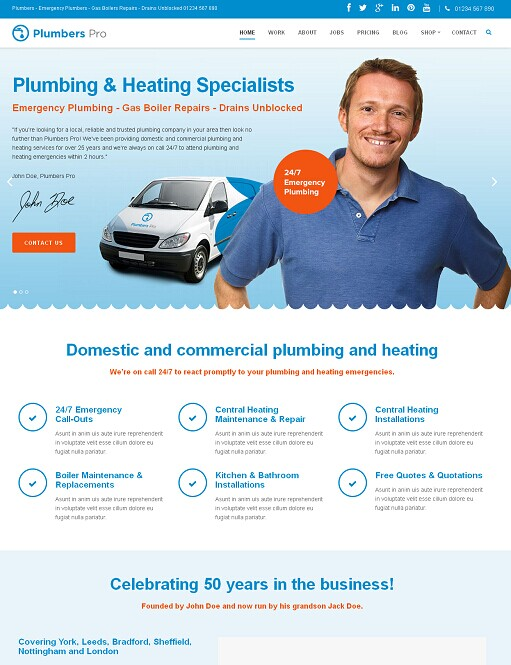 Plumbers Pro FrogsThemes WordPress Theme For Company