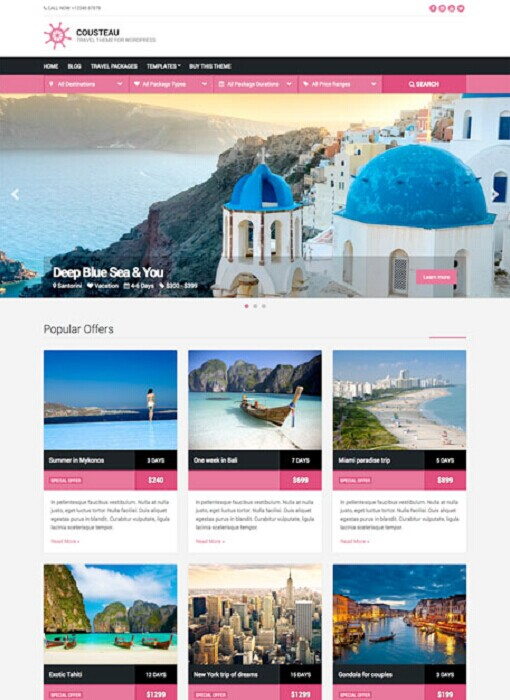 Cousteau WordPress Travel Theme
