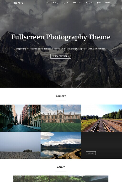 Inspiro WordPress Theme - A WPZOOM Photography Theme