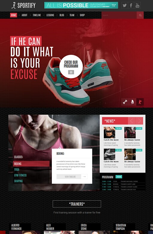 Sportify WordPress Gym/Fitness Theme By TeslaThemes