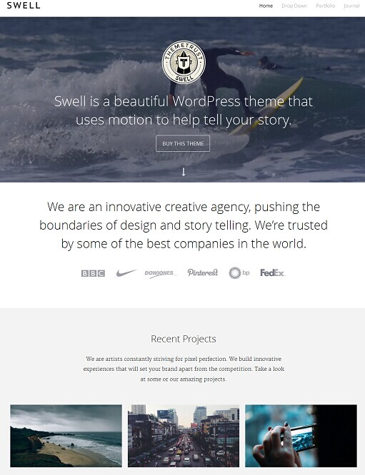 Swell WordPress Theme - A ThemeTrust Video Portfolio Theme