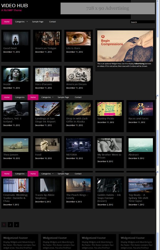 Video Hub WordPress Theme - A RichWP Video Gallery Theme