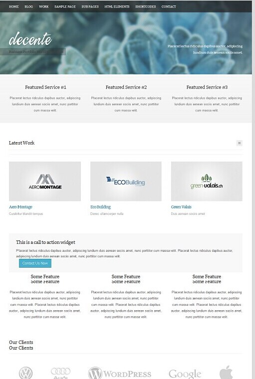 deCente WordPress Theme Shift - A Business Portfolio Theme
