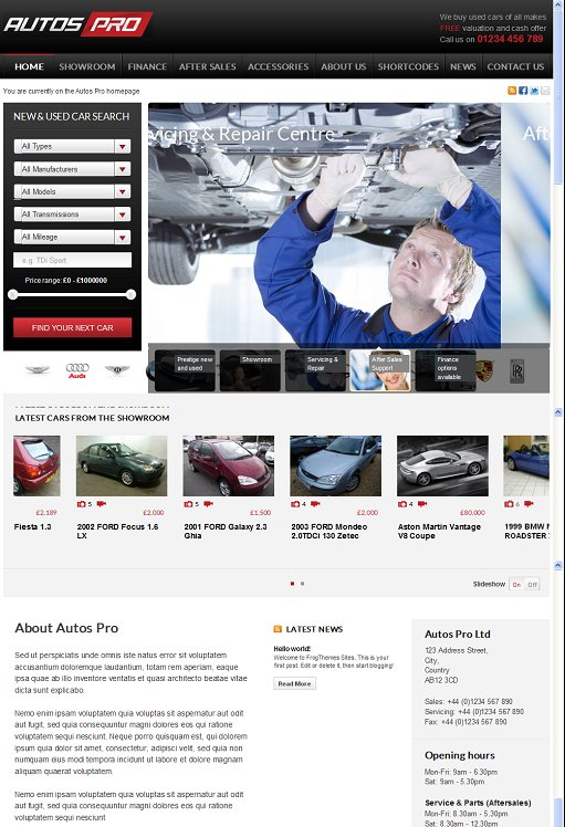 Autos Pro WordPress Theme - A Frogsthemes Automotive Theme