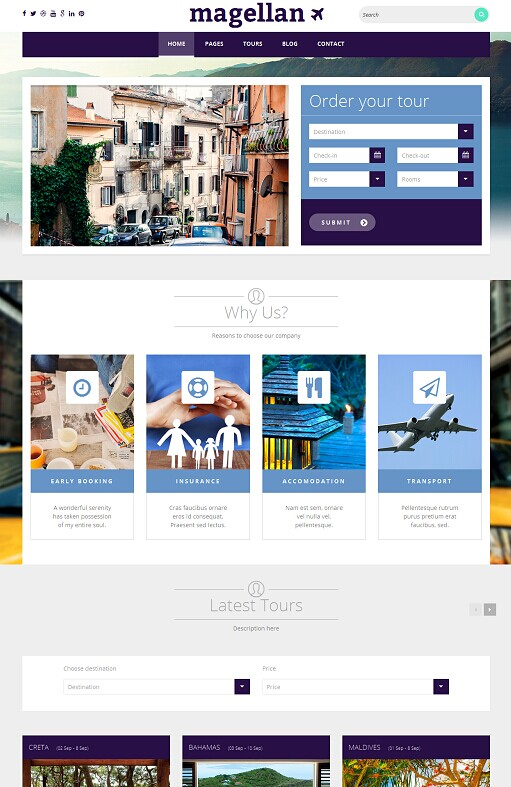 Magellan WordPress Theme - A TeslaThemes Travel Agency Theme