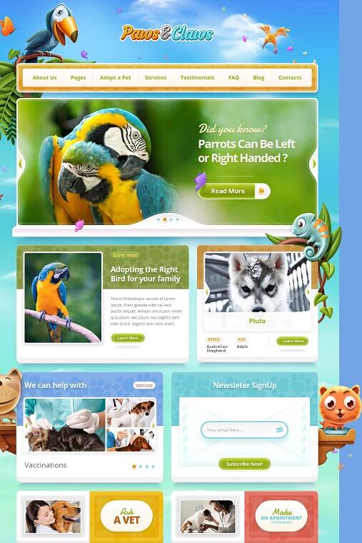 Paws & Claws WordPress theme - ThemeFuse Pet Clinic theme