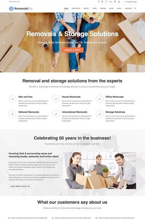 Removals Pro WordPress Theme - A Frogsthemes Moving Company Theme