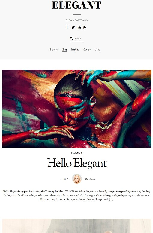 Elegant Blog Portfolio WordPress Theme - Themify