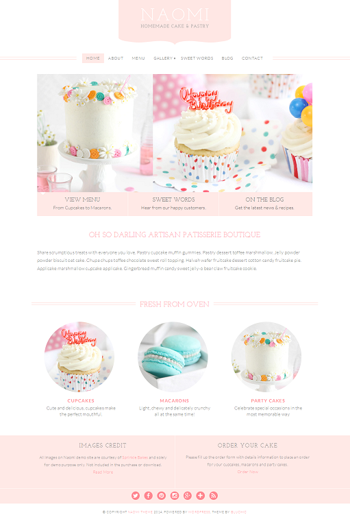 Naomi WP Theme - A BluChic Theme For Pastry and Cupcake