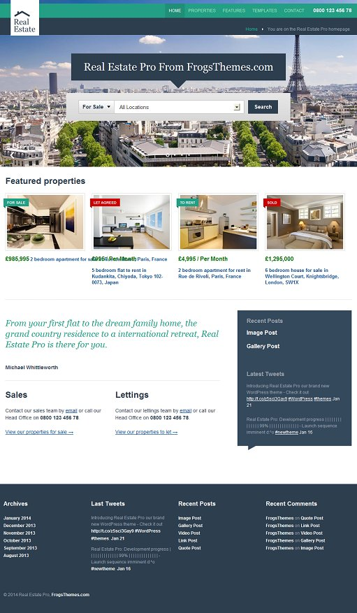 Real Estate Pro WordPress Theme – A Frogsthemes Real Estate Theme