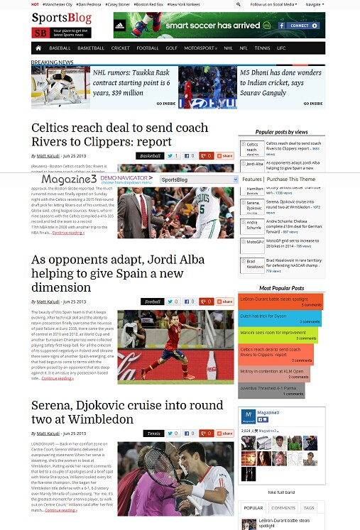 SportsBlog WordPress Theme - A Magazine3 Sports News Theme