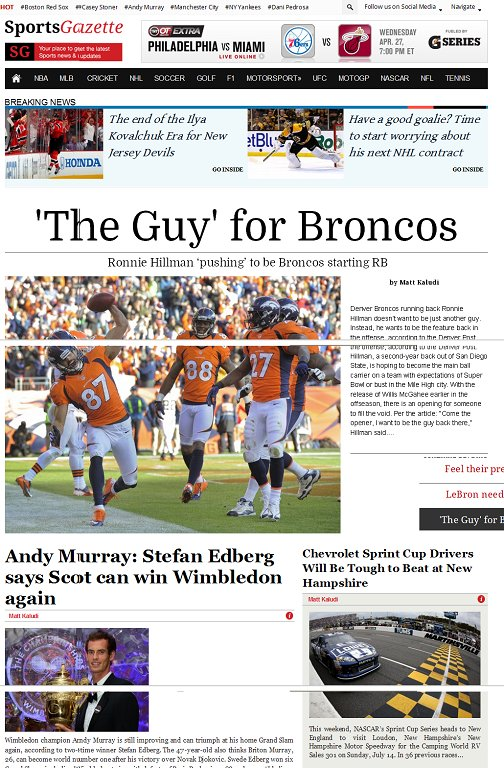 SportsGazette WordPress Theme - A Magazine3 Sports Newspaper Theme