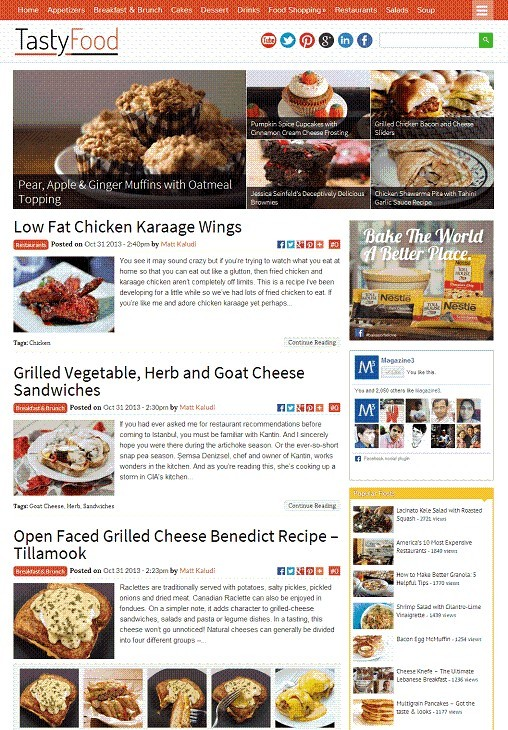 TastyFood WordPress Theme - A Magzine3 Food Blogging Theme