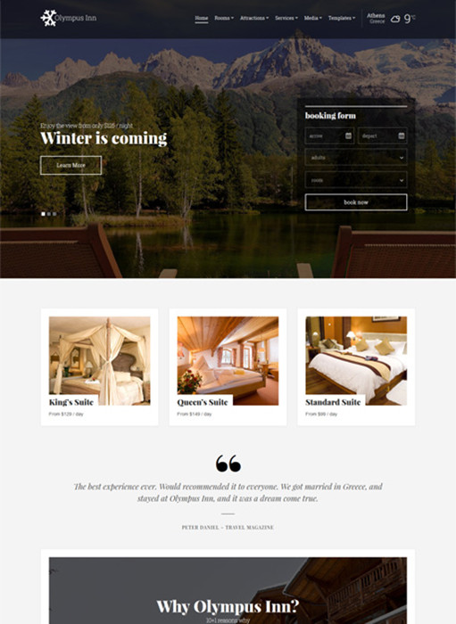 Olympus Inn WordPress Theme - A CSSIgniter Hotel Theme